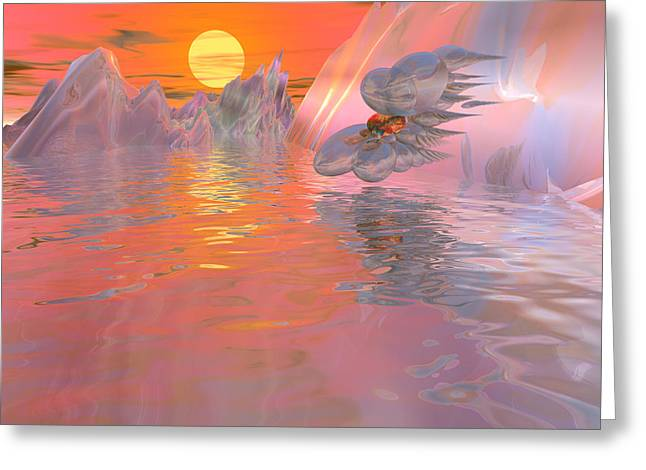 Visionary Artist Greeting Cards - Swan at the South Pole of Kepler-62e Greeting Card by Bob  Eige