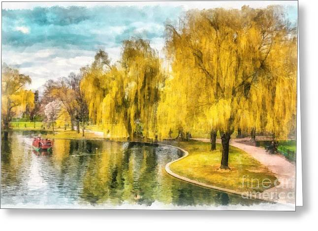 Swans... Greeting Cards - Swan Boats Boston Public Garden Greeting Card by Edward Fielding