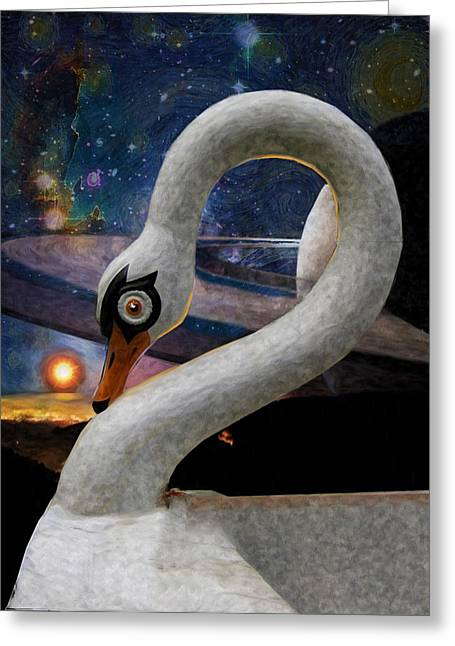 Swans... Greeting Cards - Swan Boats on Titan Greeting Card by William Sargent