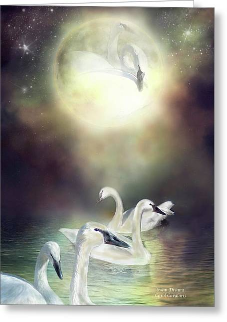 Swan Fantasy Art Greeting Cards - Swan Dreams Greeting Card by Carol Cavalaris