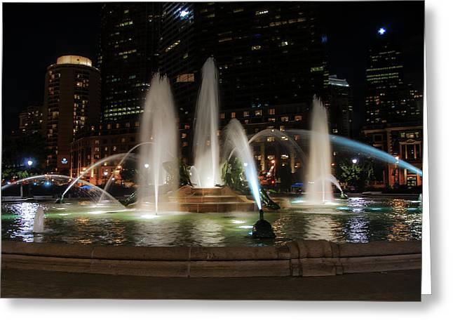 Swan Fountain In The Night Lights Greeting Card by Bill Cannon