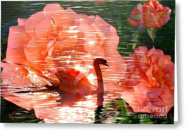 Swan In Lake With Orange Flowers Greeting Card by Annie Zeno