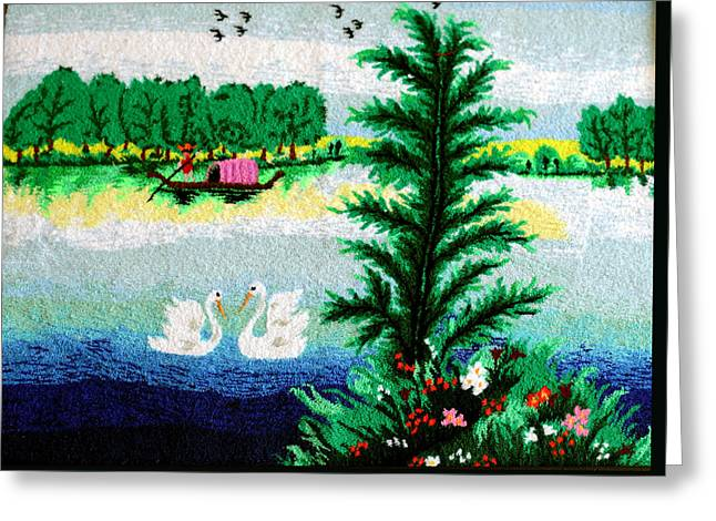 Tern Tapestries - Textiles Greeting Cards - Swan In The Lake Greeting Card by Mimoza Xhaferi