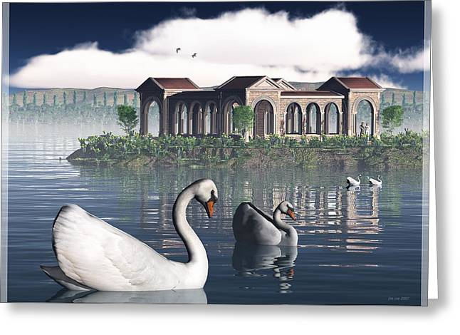 Jim Coe Greeting Cards - Swan Island Greeting Card by Jim Coe