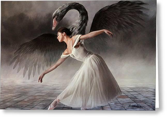 Ballet Dancers Drawings Greeting Cards - Swan Lake Greeting Card by Brita Seifert