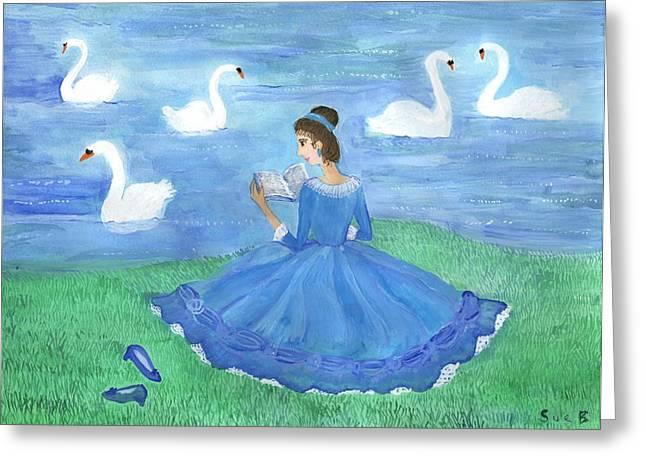 Swan Lake Reader Greeting Card by Sushila Burgess