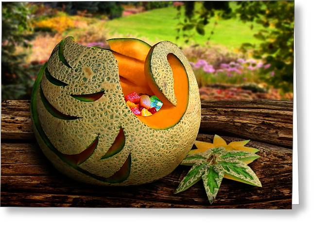 Melon Greeting Cards - Swan Melon Greeting Card by John  Poon
