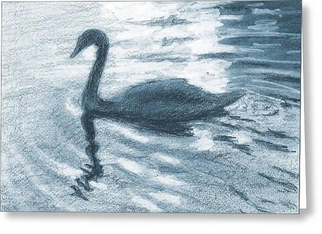 Interior Still Life Drawings Greeting Cards - Swan Greeting Card by Sarah Parks