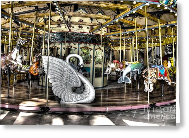 Swan Seat at the Carousel  Greeting Card by Michael Garyet