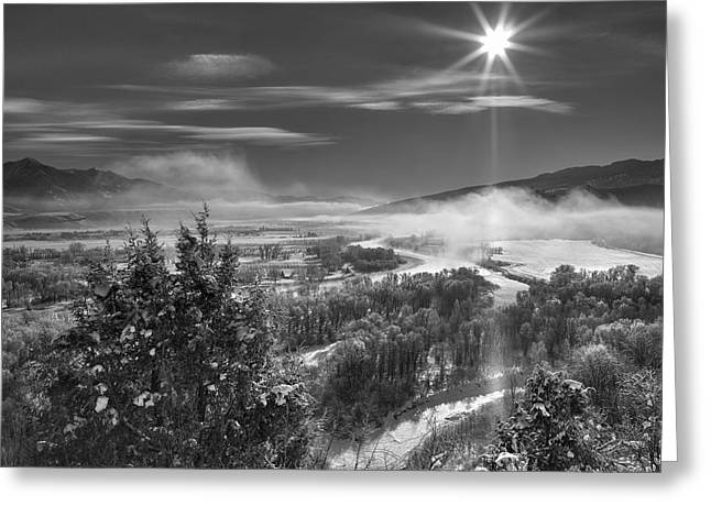 Swan Valley Winter Black And White Greeting Card by Leland D Howard