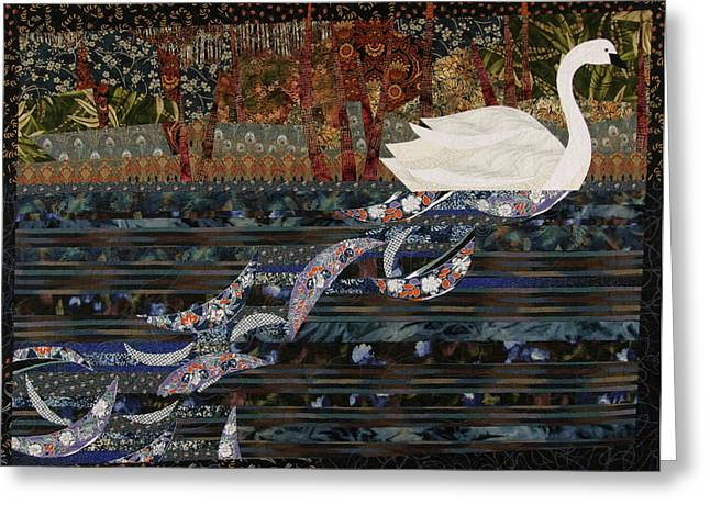 Pond Tapestries - Textiles Greeting Cards - Swan Wake Greeting Card by Linda Beach
