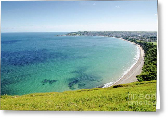 Seaside Photographs Greeting Cards - SWANAGE BAY the bay at Swanage Dorset England UK Greeting Card by Andy Smy