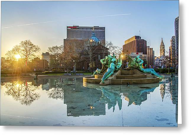 Eakins Oval Greeting Cards - Swann Fountain at Sunrise Greeting Card by Bill Cannon