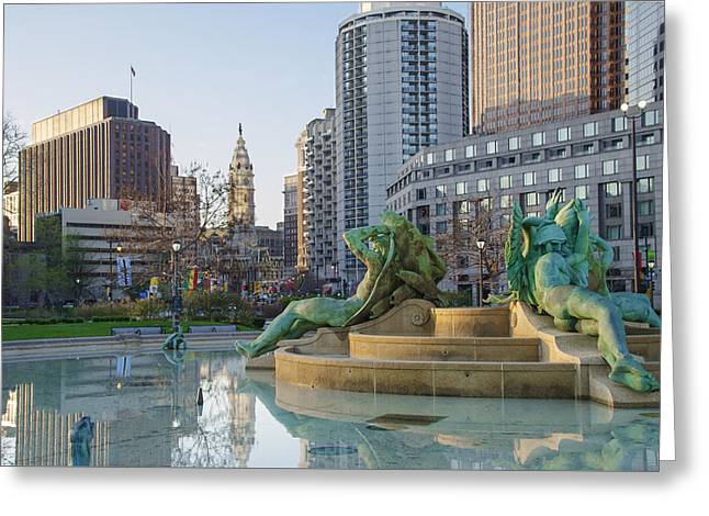 Swann Greeting Cards - Swann Fountain in the Morning Greeting Card by Bill Cannon
