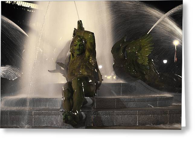 Swann Fountain - Splashing In The Light Greeting Card by Bill Cannon