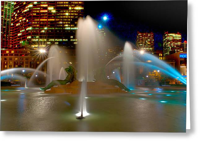 Hdr Landscape Greeting Cards - Swann Memorial Fountain at Night Greeting Card by Louis Dallara