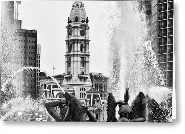 Swann Memorial Fountain in Black and White Greeting Card by Bill Cannon