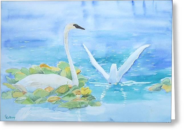 Swans Greeting Card by Christine Lathrop