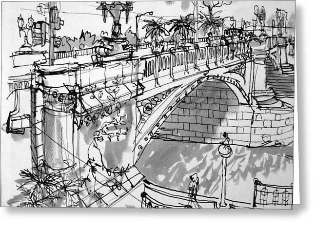 Mclean Greeting Cards - Swanston St Bridge Greeting Card by Richard Mclean
