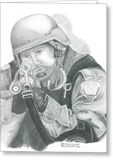 Police Officer Drawings Greeting Cards - S.W.A.T. at the Ready Greeting Card by Sharon Blanchard