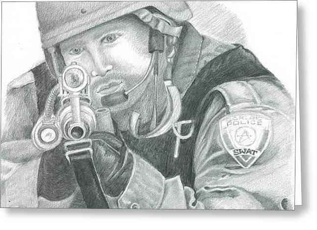S.W.A.T. at the Ready Greeting Card by Sharon Blanchard