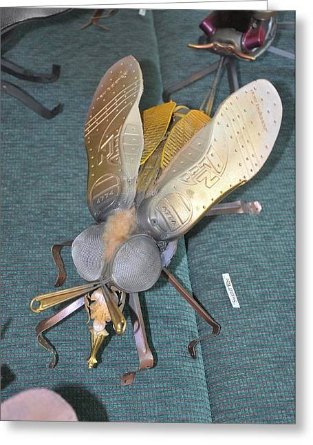 Insect Sculptures Greeting Cards - Swatter Bee Greeting Card by Michael Jude Russo