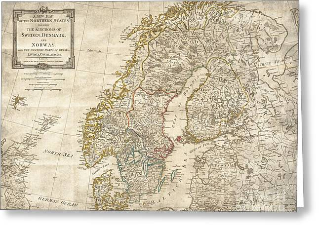 Oslo Greeting Cards - Sweden Norway Denmark Antique Vintage Map Greeting Card by ELITE IMAGE photography By Chad McDermott