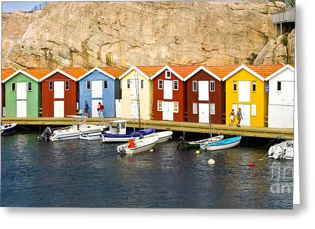 Boat Shed Greeting Cards - Swedish Boathouses Greeting Card by Lutz Baar