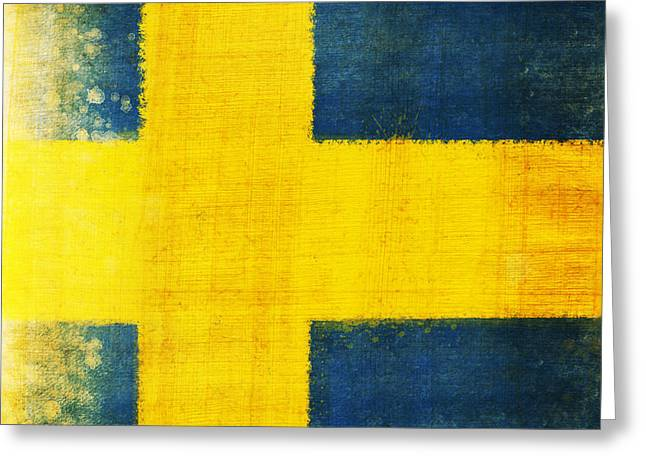 Flag Photographs Greeting Cards - Swedish flag Greeting Card by Setsiri Silapasuwanchai