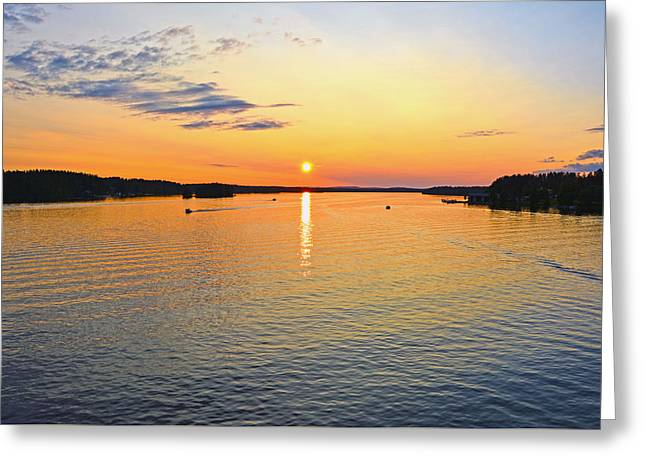 Sunset Prints Greeting Cards - Swedish Sunset Greeting Card by Torfinn Johannessen