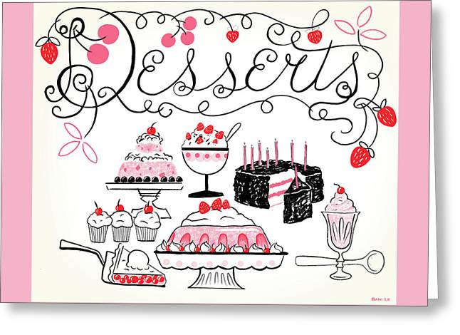 Sweet And Lovely Desserts Greeting Card by Little Bunny Sunshine