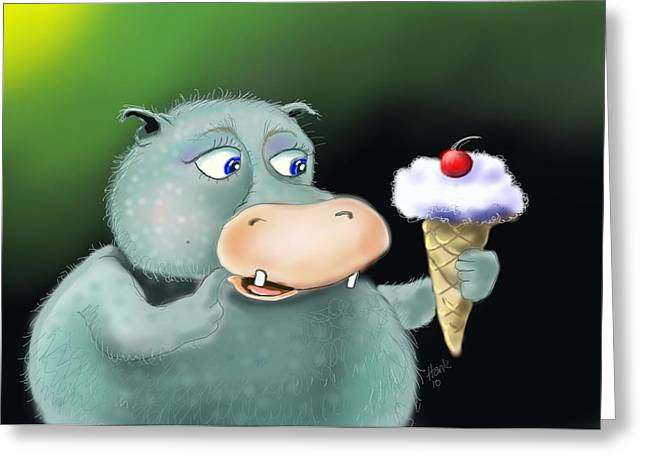 Kid Eating Ice Cream Greeting Cards - Sweet Anticipation Greeting Card by Hank Nunes