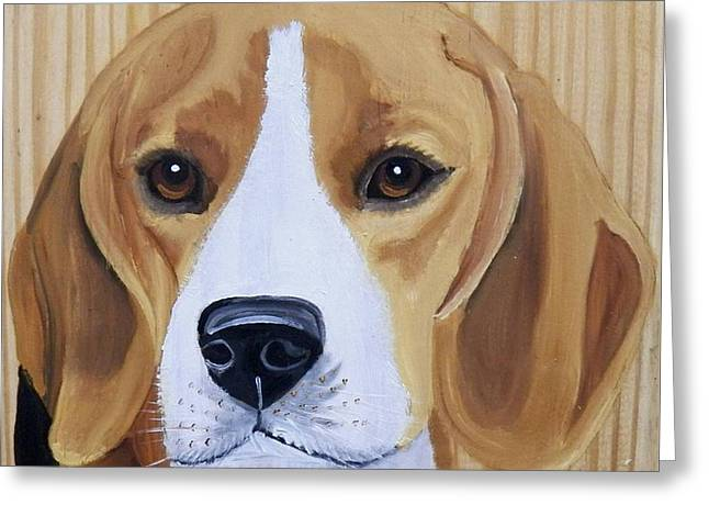 Puppies Paintings Greeting Cards - Sweet Beagle  Greeting Card by Debbie LaFrance