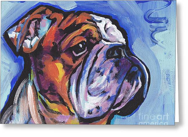 English Bulldog Portrait Greeting Cards - Sweet Bully Greeting Card by Lea