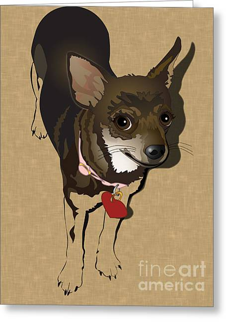 Puppies Digital Greeting Cards - Sweet Chi Greeting Card by Donna Newsom