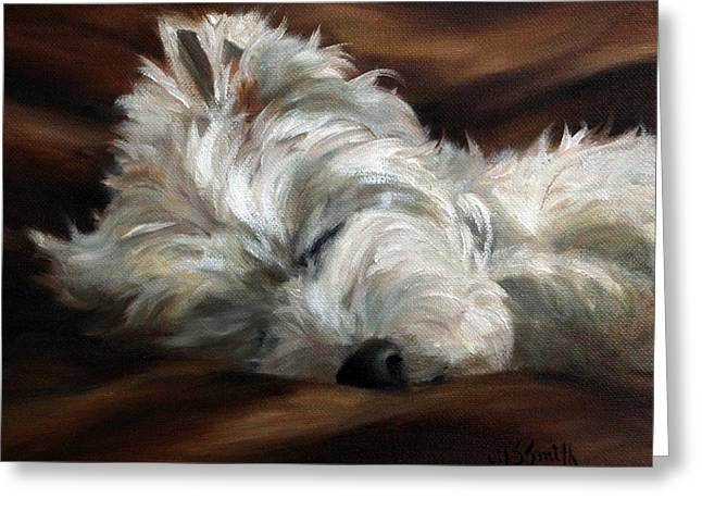 Westie Art Greeting Cards - Sweet Dreams Greeting Card by Mary Sparrow