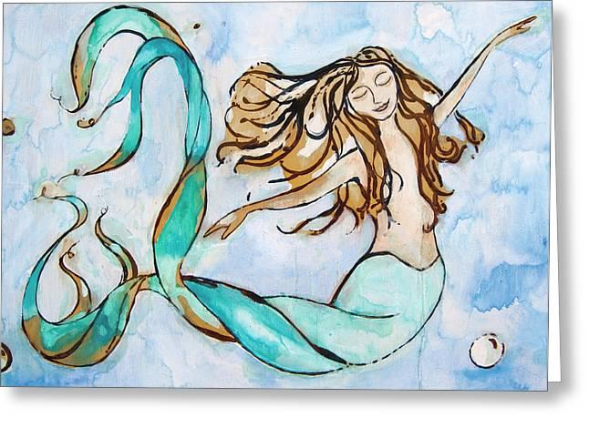 Recently Sold -  - Beach Themed Art Greeting Cards - Sweet Dreams - Mermaid Greeting Card by Tamara Kapan