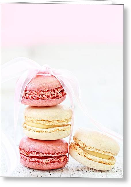 Brulee Greeting Cards - Sweet French Macarons Greeting Card by Stephanie Frey