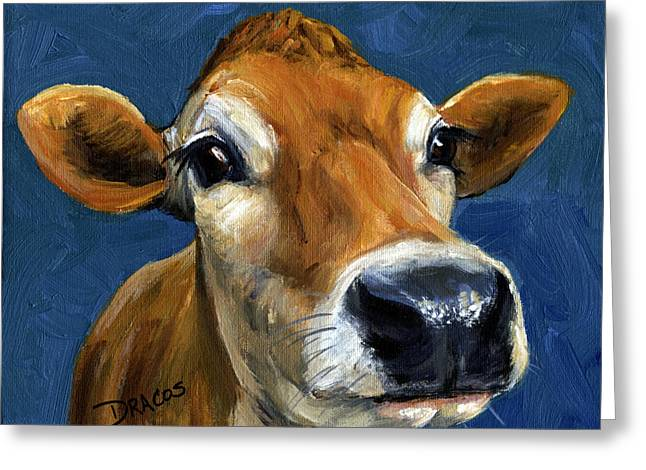 Cow Paintings Greeting Cards - Sweet Jersey Cow Greeting Card by Dottie Dracos
