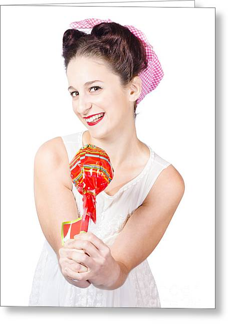 Sweet Lolly Shop Lady Offering Over Red Lollipop Greeting Card by Jorgo Photography - Wall Art Gallery