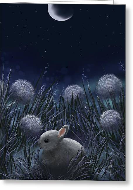 White. Rabbit Greeting Cards - Sweet night Greeting Card by Veronica Minozzi