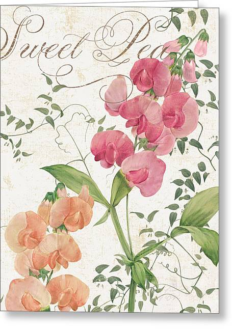 Pink Sweet Peas Greeting Cards - Sweet Pea Flowering Plant Greeting Card by Mindy Sommers