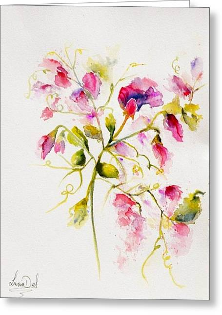 Greeting Card Greeting Cards - Sweet peas Popping Greeting Card by Lucia Del