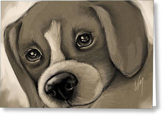 Dog Pencil Greeting Cards - Sweet puppy Greeting Card by Veronica Minozzi