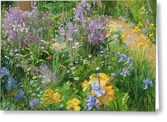 Foxglove Flowers Paintings Greeting Cards - Sweet Rocket - Foxgloves and Irises Greeting Card by Timothy Easton