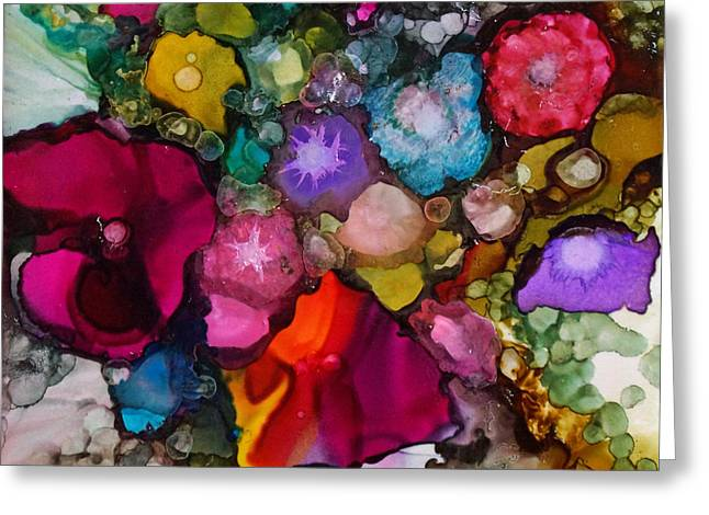 Alcohol Inks Greeting Cards - Sweet Sensation Bouquet Greeting Card by Joanne Smoley