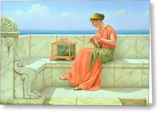 Bird Cage Greeting Cards - Sweet Sounds Greeting Card by John William Godward