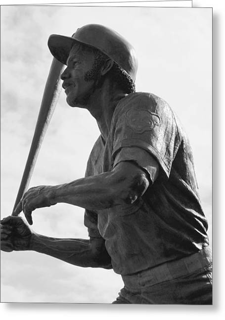 Historic Statue Greeting Cards - Sweet Swinging Billy Williams B n W Greeting Card by Richard Andrews