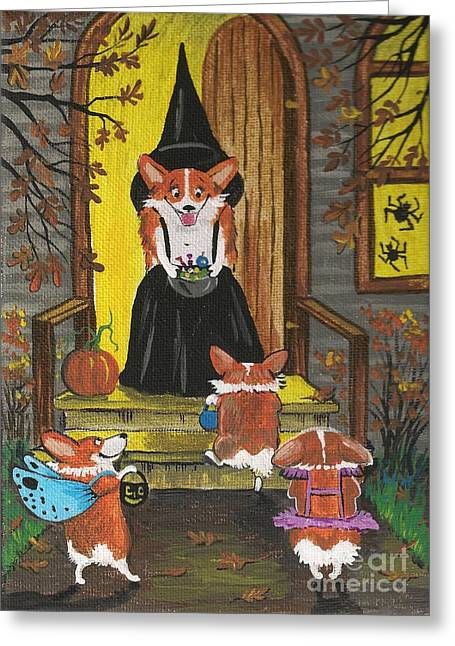 Puppies Paintings Greeting Cards - Sweet Trick or Treaters Greeting Card by Margaryta Yermolayeva