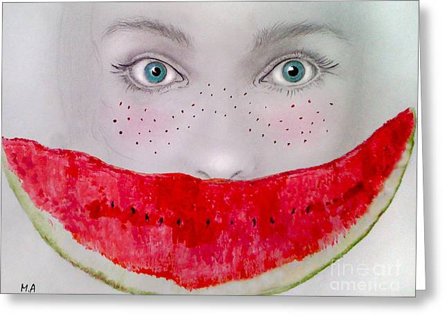 Watermelon Drawings Greeting Cards - Smile Greeting Card by Maria Hakobyan